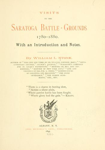 Download Visits to the Saratoga battle-grounds, 1780-1880.