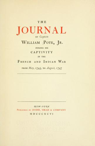 The journal of Captain William Pote, Jr.