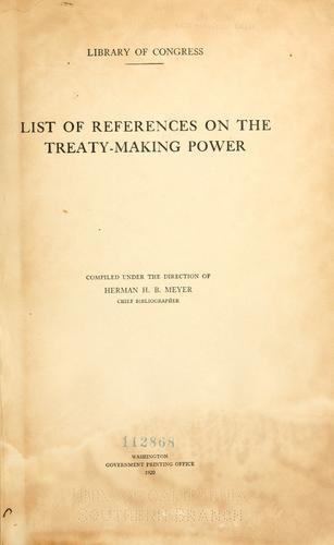 List of references on the treaty-making power