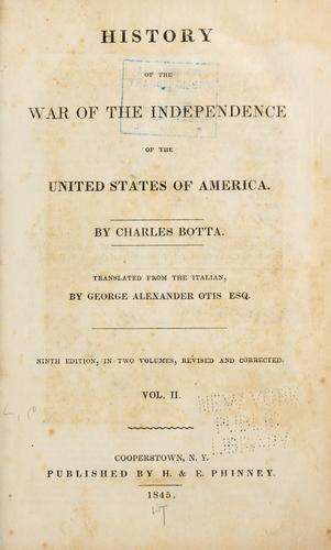 History of the war of the independence of the United States of America.