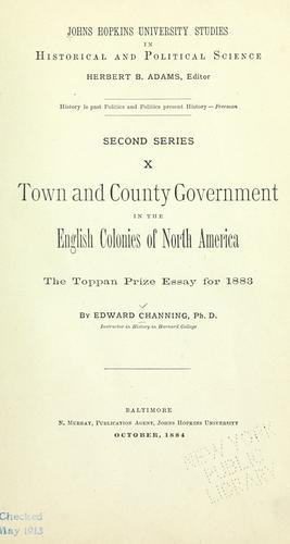 Town and county government in the English colonies of North America.