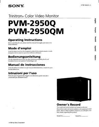 Sony Monitor Manual: PVM 2950Q 2950QM Operating Instructions.PDF ...