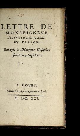 Cover of: Lettre de Monseigneur l'illustriss. card. du Perron by Jacques Davy Du Perron