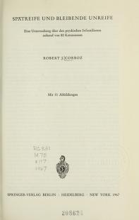 Cover of: Spätreife und bleibende Unreife   R. J. Corboz