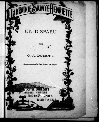 Un disparu by G. A. Dumont