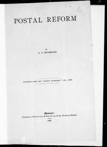 Postal reform by A. T. Drummond