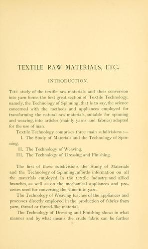 Textile raw materials and their conversion into yarns by Julius Zipser