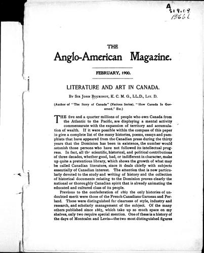 Literature and art in Canada by Bourinot, John George Sir