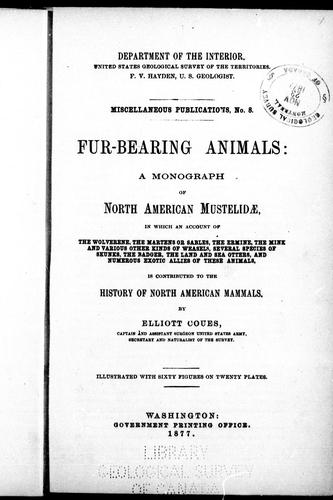 Fur-bearing animals by Elliott Coues