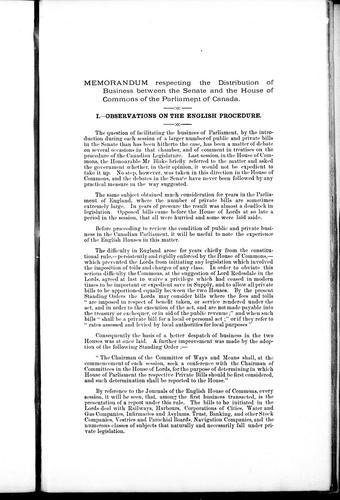 Memorandum respecting the distribution of business between the Senate and the House of Commons of the Parliament of Canada by Bourinot, John George Sir