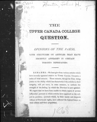 The Upper Canada College question by J. Howard Hunter