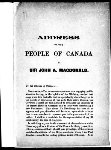 Address to the people of Canada by Macdonald, John A. Sir