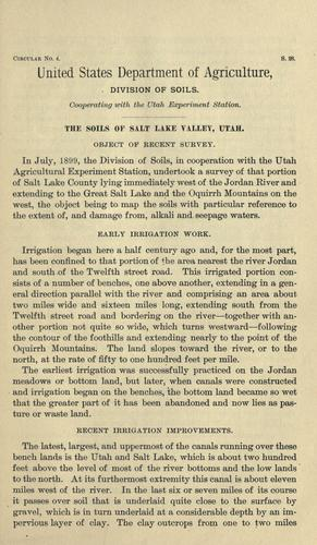 The soils of Salt Lake Valley, Utah by Frank D. Gardner