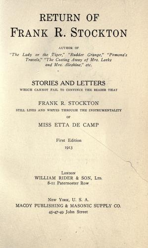 Return of Frank R. Stockton by Etta De Camp