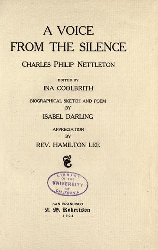 A voice from the silence by Charles Philip Nettleton