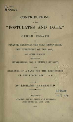 "Contributions to the ""Postulates and data"" by Richard Heathfield"