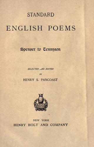 Standard English poems by Pancoast, Henry Spackman