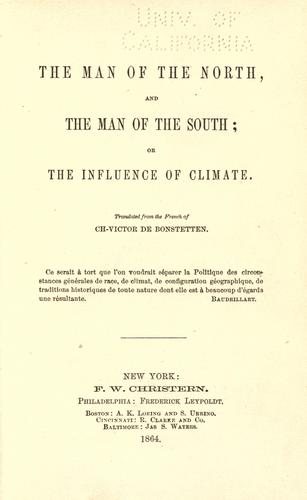 The man of the North and the man of the South by Charles Victor de Bonstetten