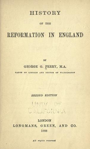History of the reformation in England