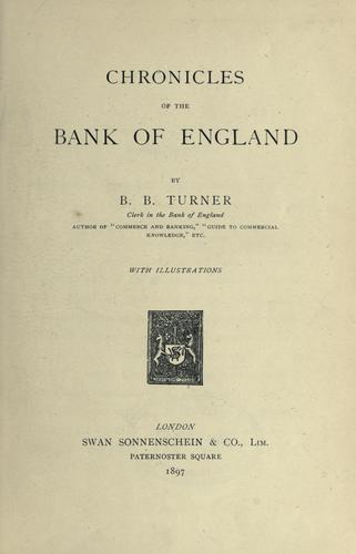 Chronicles of the Bank of England.