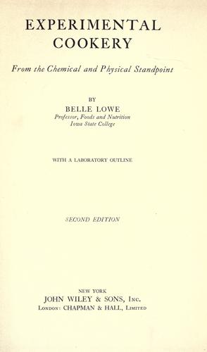 Experimental cookery by Belle Lowe