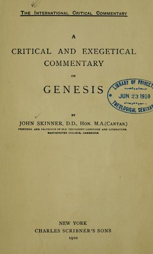 A critical and exegetical commentary on Genesis by Skinner, John