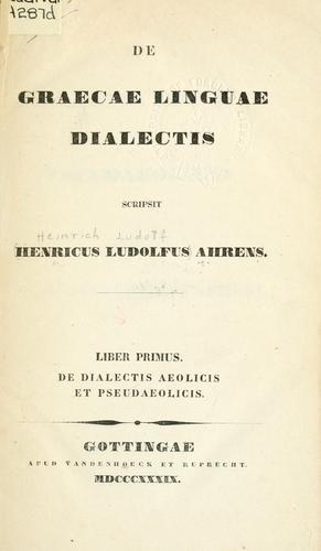 De graecae linguae dialectis.