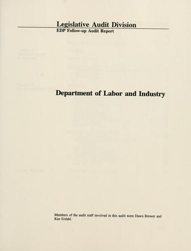 Department of Labor and Industry by Montana. Legislature. Legislative Audit Division.
