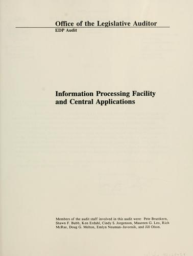 EDP audit report, information processing facility and central applications