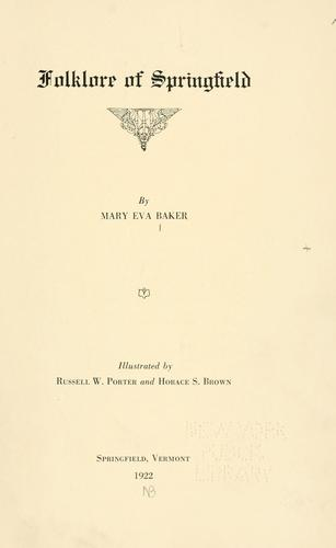 Folklore of Springfield by Mary Eva Baker