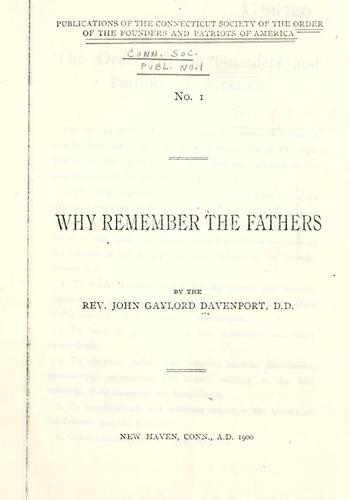 Why remember the fathers by John Gaylord Davenport