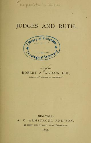 Judges and Ruth by Watson, Robert Alexander