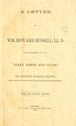 """A letter to William Howard Russell, LL.D. on passages in his """"Diary North and South."""""""