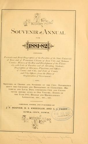 Souvenir and annual for 1881-82, containing ... by John F. Hoover