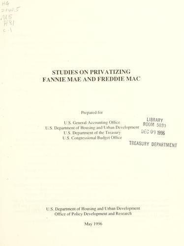 Studies on privatizing Fannie Mae and Freddie Mac