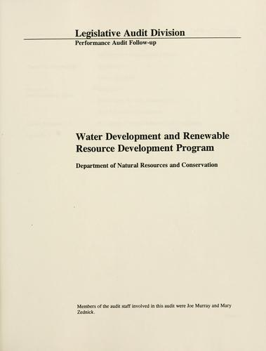 Water development and renewable resource development programs, Department of Natural Resources and Conservation by Montana. Legislature. Legislative Audit Division.