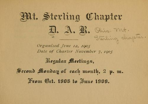 [Yearbook] ... 1908/09 by Daughters of the American revolution, Ohio. Mt. Sterling chapter