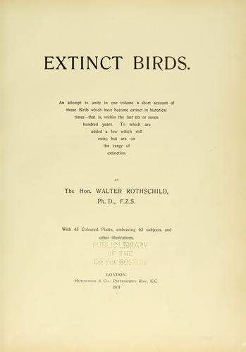 Extinct birds by Rothschild, Lionel Walter Rothschild Baron