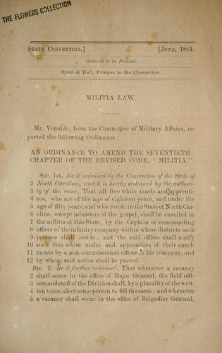 Militia law by North Carolina. Convention Committee on Military Affairs