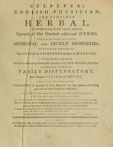 Culpepper's English physician ; and complete herbal by Nicholas Culpeper