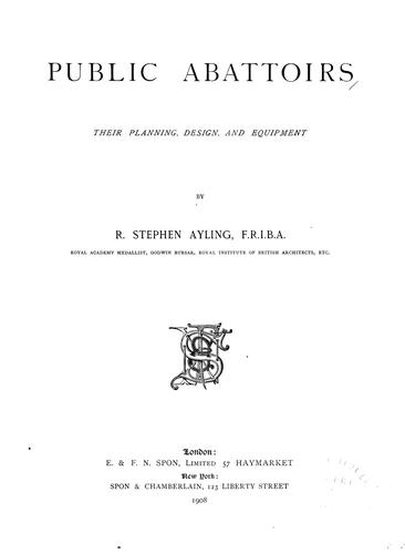 Public abattoirs by R. Stephen Ayling