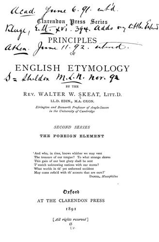 Principles of English etymology
