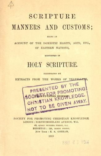 Scripture manners and customs by