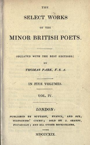 The select works of the minor British poets by