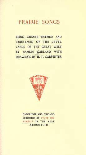 Prairie songs by Hamlin Garland