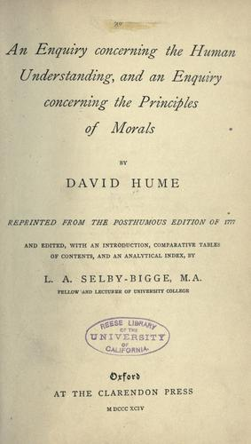 An enquiry concerning the human understanding by David Hume