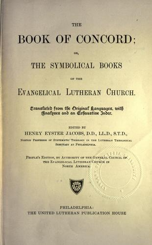 The book of concord by Lutheran Church.