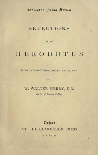 Selections from Herodotus by Herodotus
