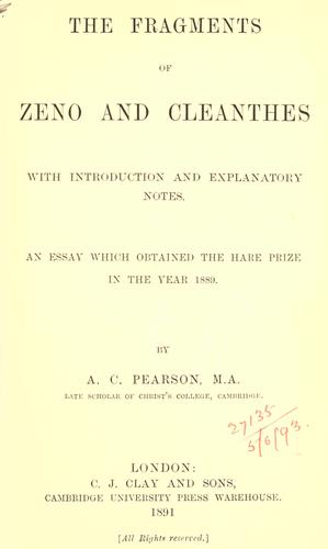 The fragments of Zeno and Cleanthes by Zeno the Stoic.
