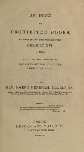 An index of prohibited books by Joseph Mendham